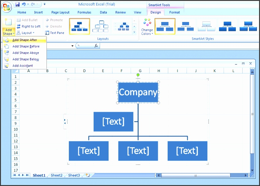 excel organizational chart excel 2007 organizational chart template add a shape to an