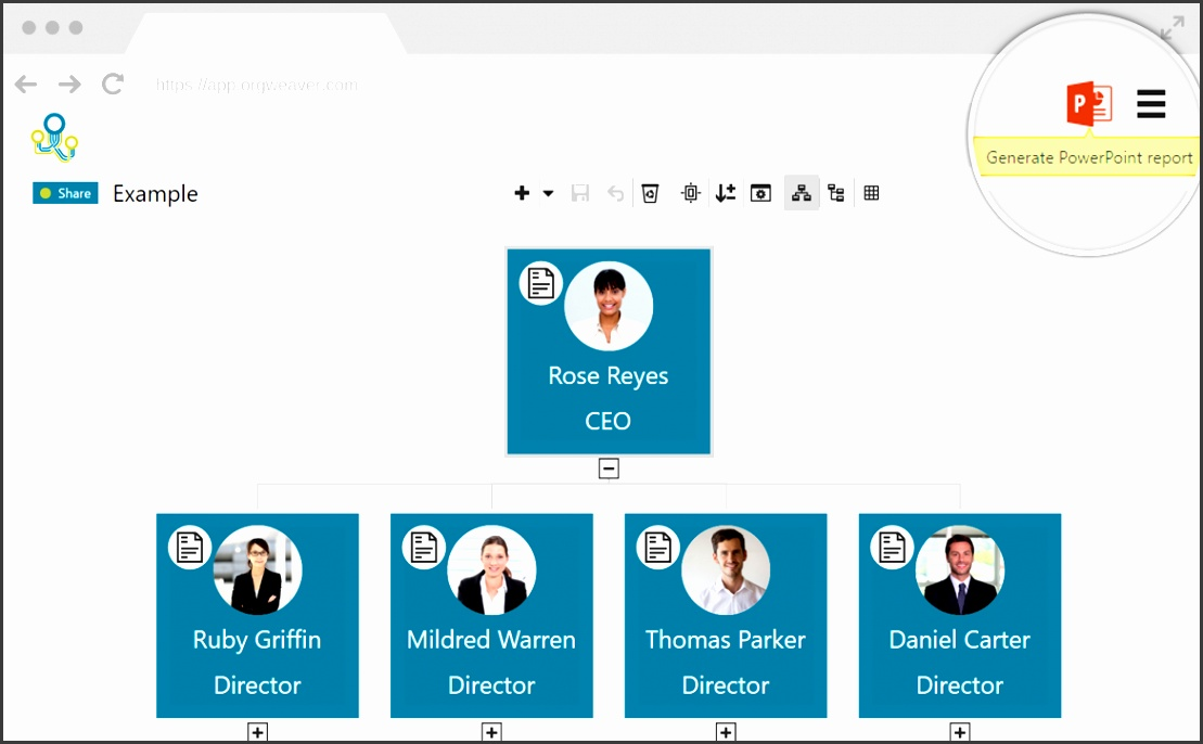 Organizational chart with photos and position descriptions