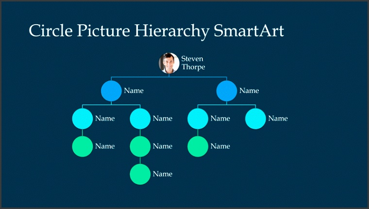 Circle Picture Hiearchy Organization Chart Slide white on blue widescreen