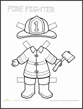Second Grade Coloring Worksheets Firefighter Paper Doll