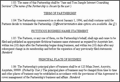 Partnership Agreement Sample Doc