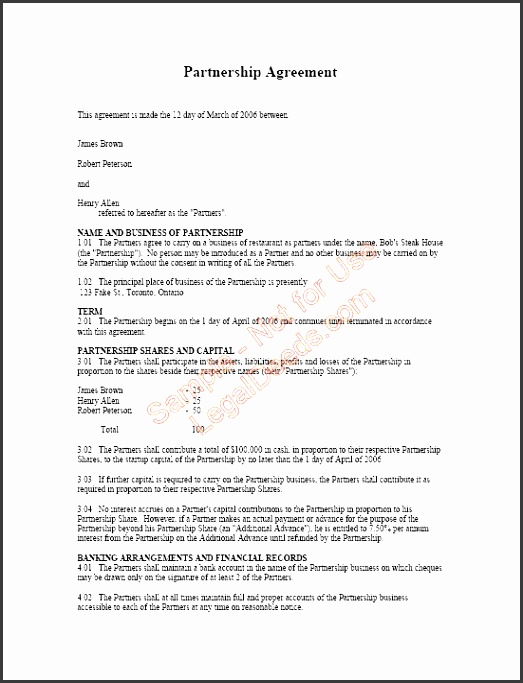 partnership agreement page 1