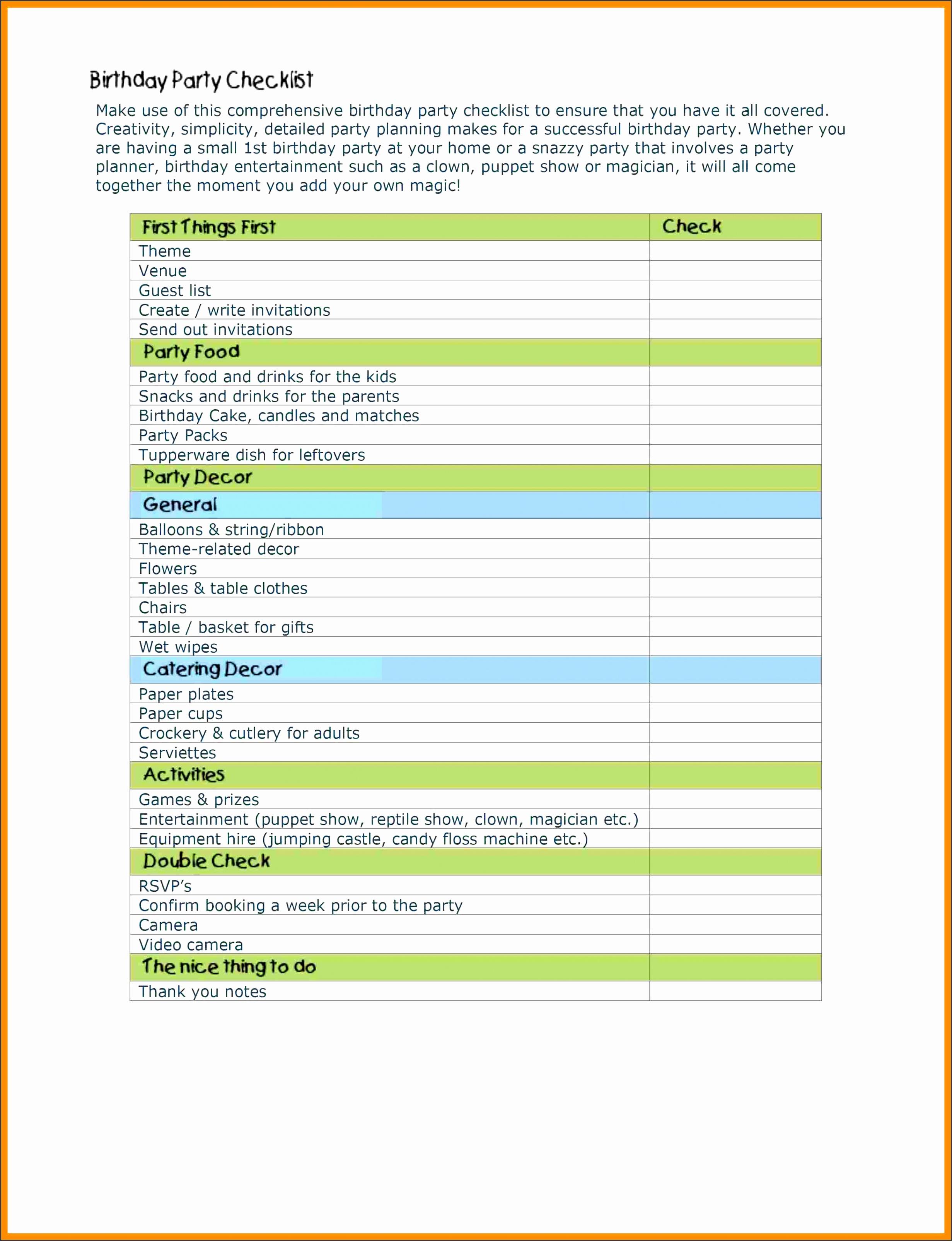 Free Templates Birthday Party Checklist Template Free Templates Birthday Party Checklist Template