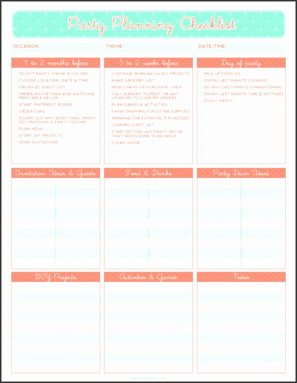 Free printable party planning checklist Party Inspiration birthday party checklist template