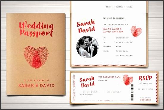 Vintage Passport Wedding Invitation Invitations