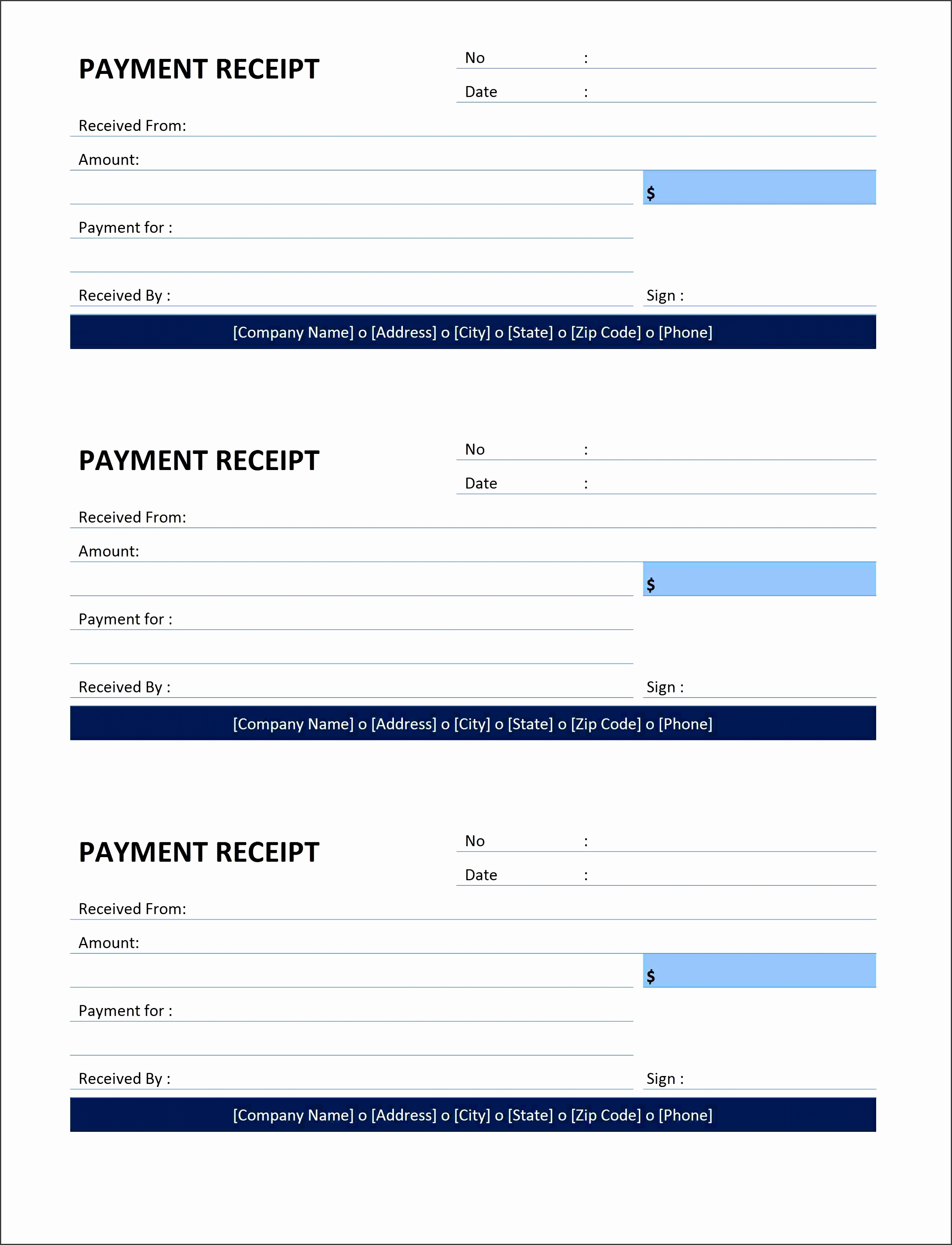 reciept for payment