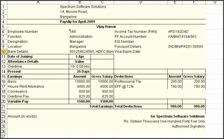Payroll Pay Slip Report payroll payslip template