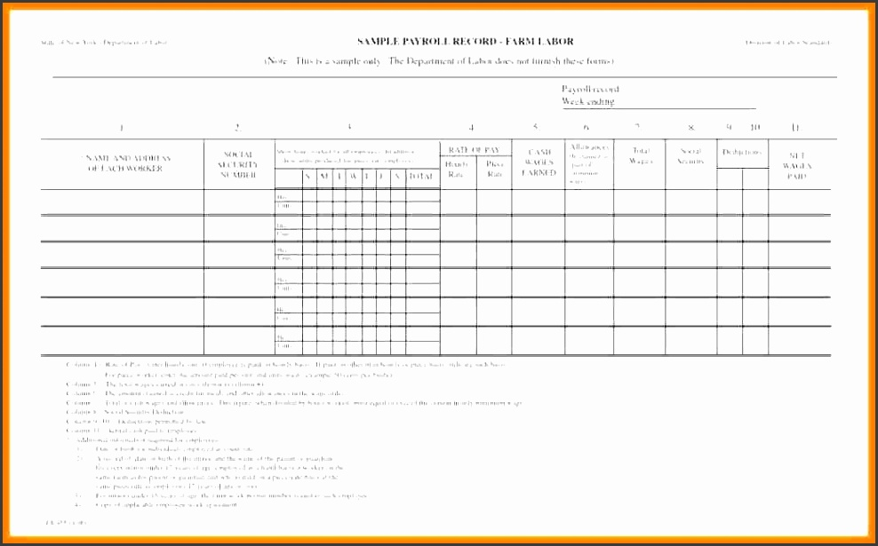 10 sample of payroll sheet