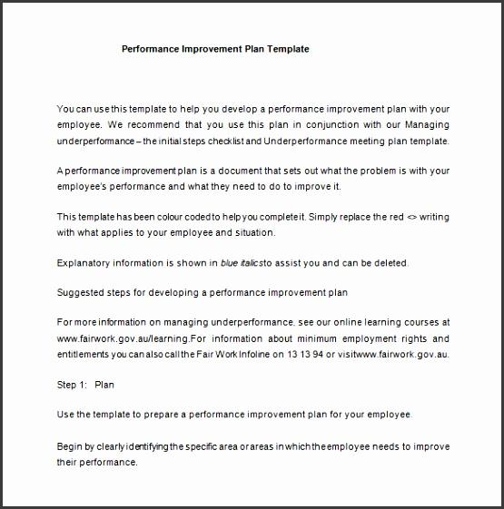 Emloyee Performance Improvement Plan Example Word Free Download