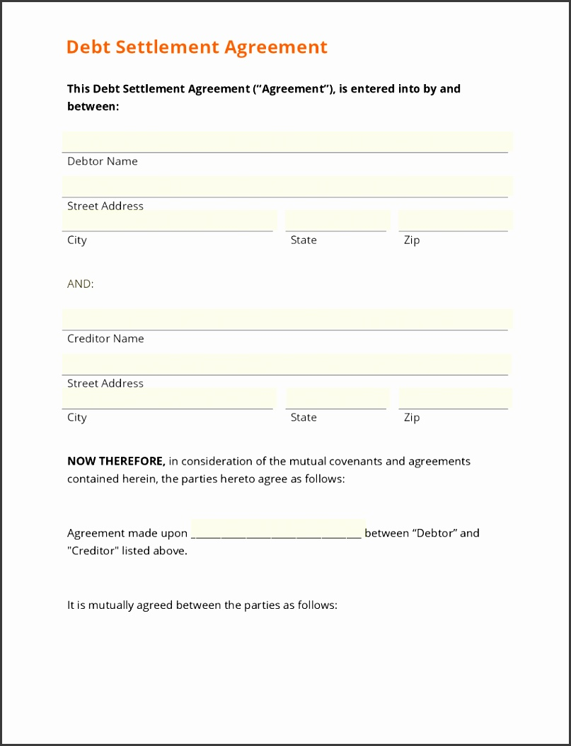 Sample Agreement To Pay Debt Settlement Template Be E A Bc D Cb Ca W Cover Letter