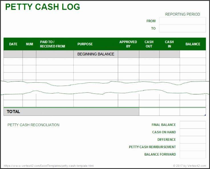 Petty Cash Log Template