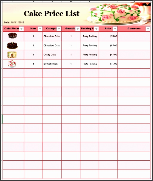Cake Price List Template