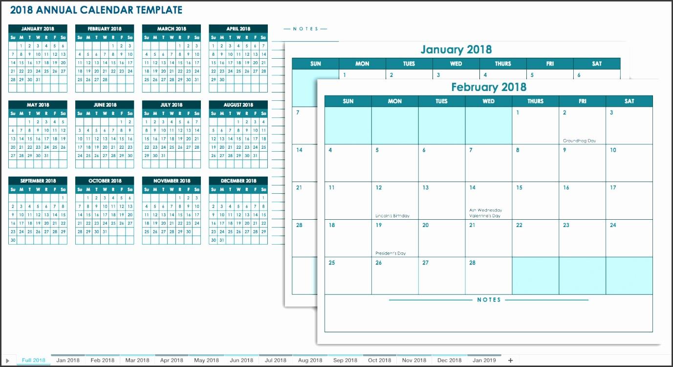 2018 Annual Calendar Template