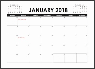 2018 Excel Calendar Planner