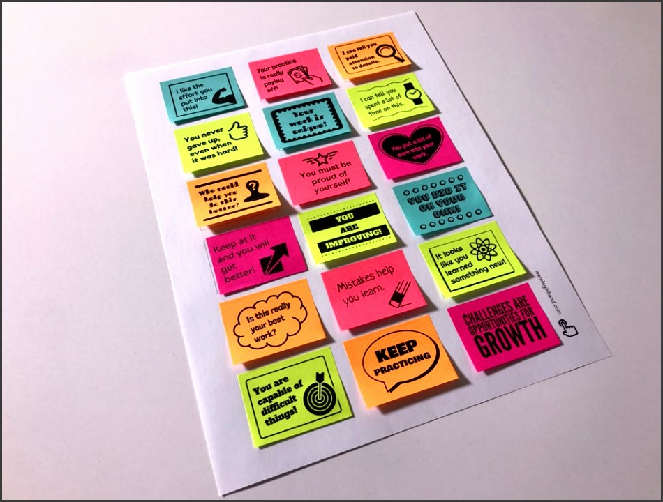 Encourage a Growth Mindset Print encouraging sticky notes