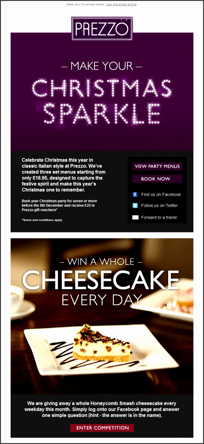 Christmas Email Marketing inspiration from Prezzo