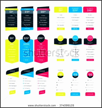 Set of Pricing Table Design Templates for Websites and Applications Flat Style Vector Illustration