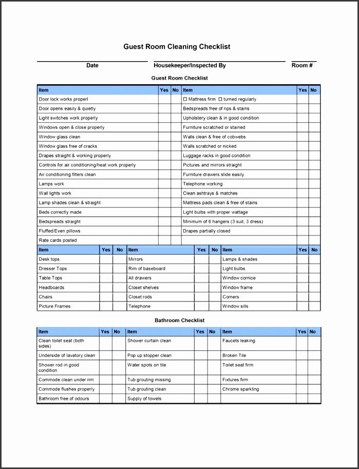 9 Best of Hotel Housekeeping Checklist Printable Housekeeping Cleaning Checklist Template Blank Cleaning Checklist Template and Hotel Room