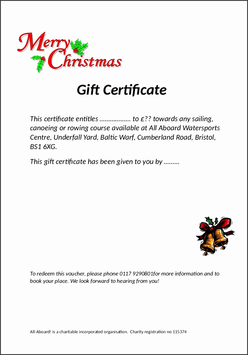 Free Printable Christmas Gift Certificate Free Business Proposal