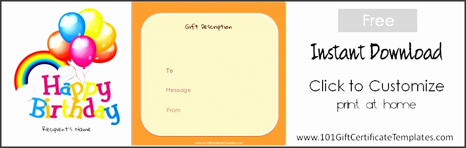 Printable Birthday Gift Certificate Template