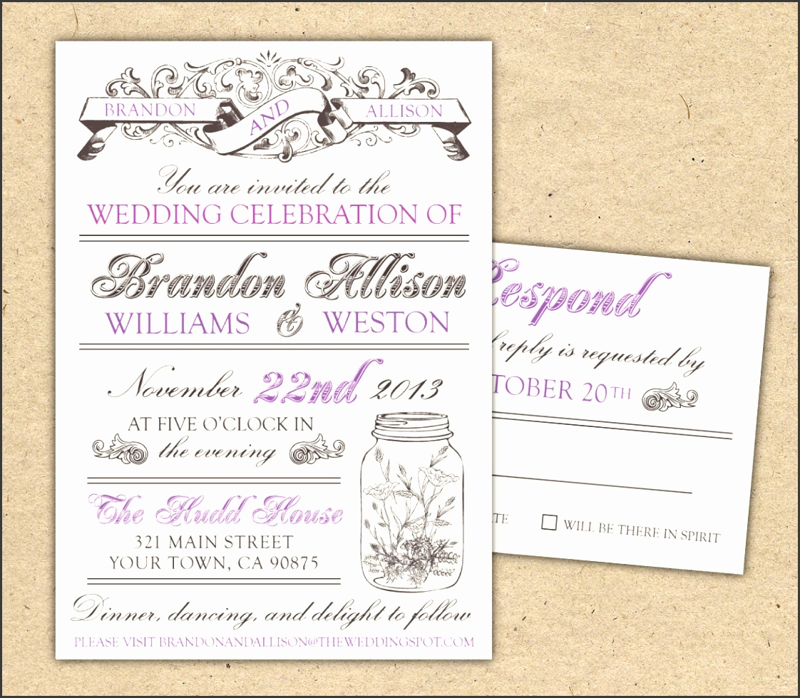 Vintage Wedding Invitations Template Best Template Collection HsQ4b8AD