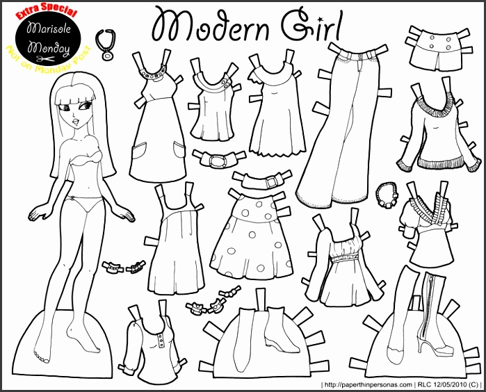 Marisole Monday Modern Girl In Black & White Paper Doll TemplatePaper Dolls PrintableDress