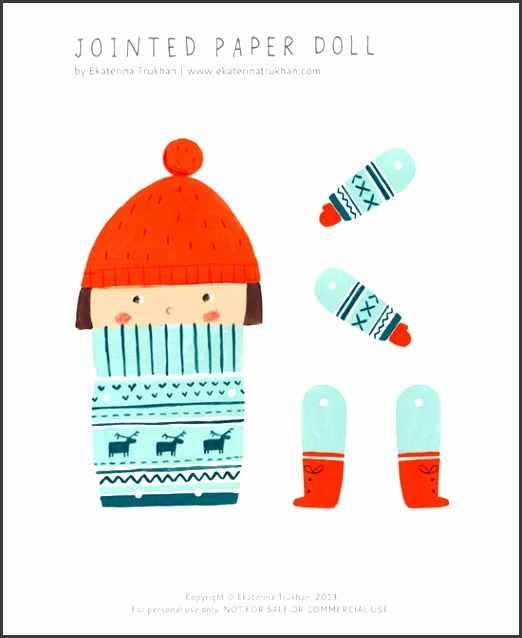 free printable Jointed Paper Doll in winter clothing