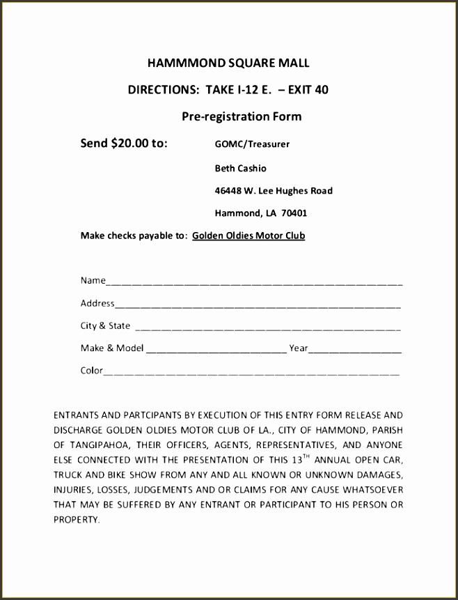 Car Show Registration Form Template 7 Free Car Show Registration Form Template Fabtemplatez Printable
