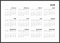 2018 yearly calendar for Mac Pages