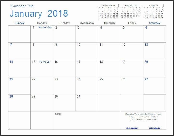 2018 Calendar Template Screenshot