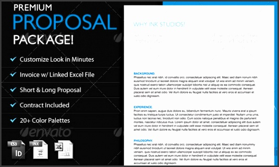 The Premium Proposal Template es equipped with both long and short proposal options 20 different color palettes and invoice and contract templates as