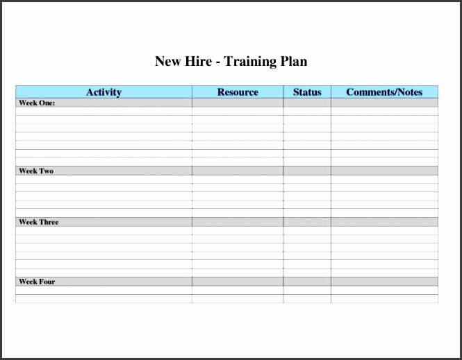 Employee training plan template current Employee Training Plan Template Strong Capture Business New Hire Program And
