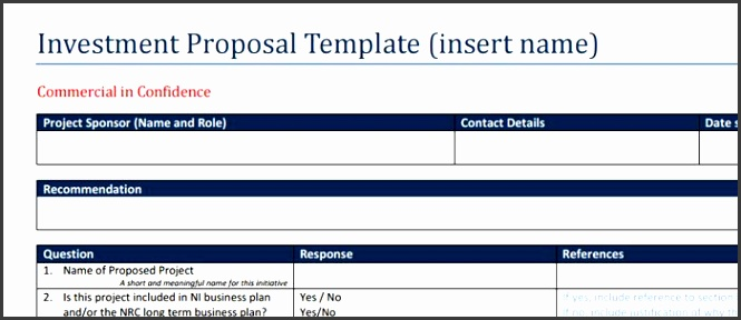 Investment Forms Initial Project Assessment