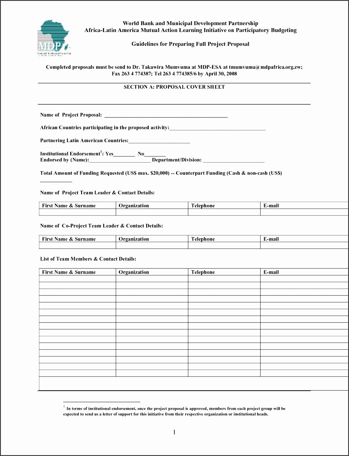 7 Project Proposal Template Word Procedure Template Sample