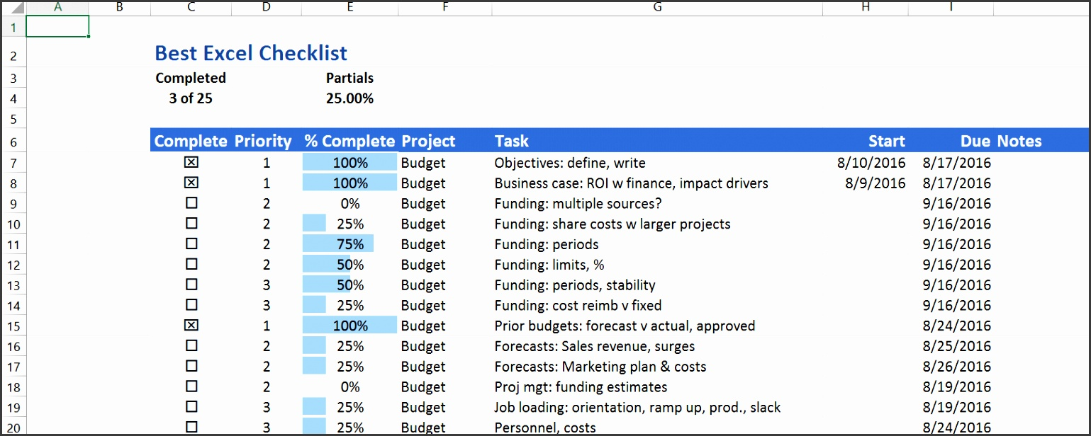 The Best Excel Checklist uses no Visual Basic but has a great set of features