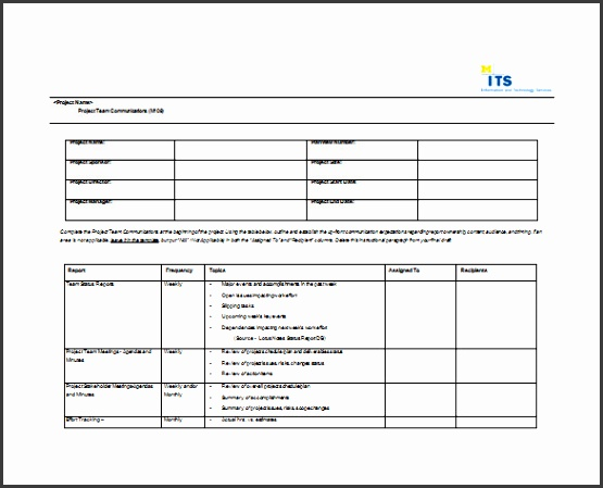 Project Team munication Plan Word Format Free Download