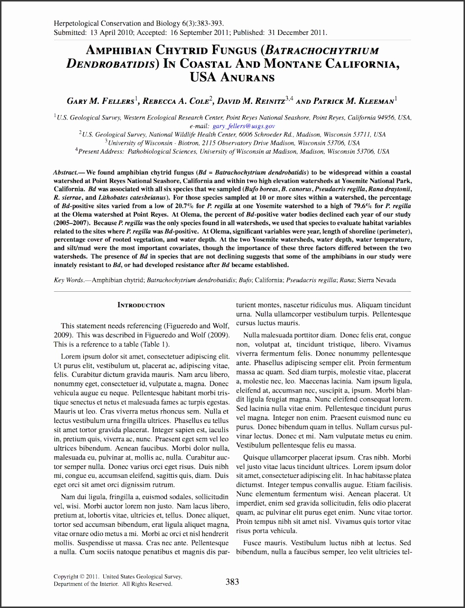 Academic Journal Article Template Client Herpetological Conservation and Biology