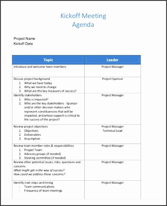 kick off meeting agenda template kick off agenda