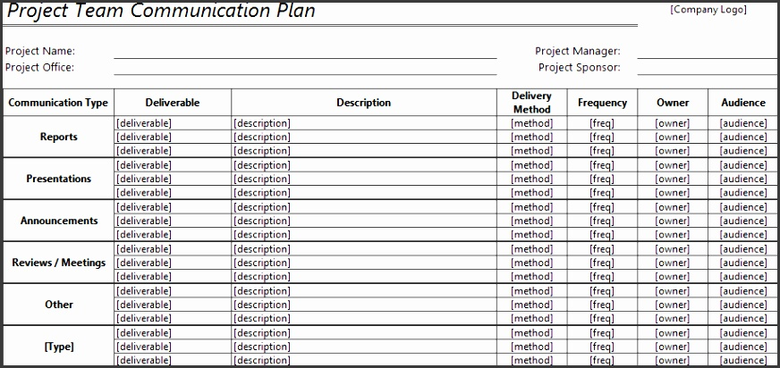 munication Plan Template for Excel