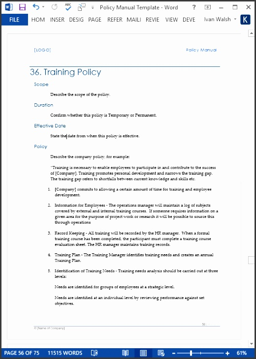 Policy Manual – sample pages