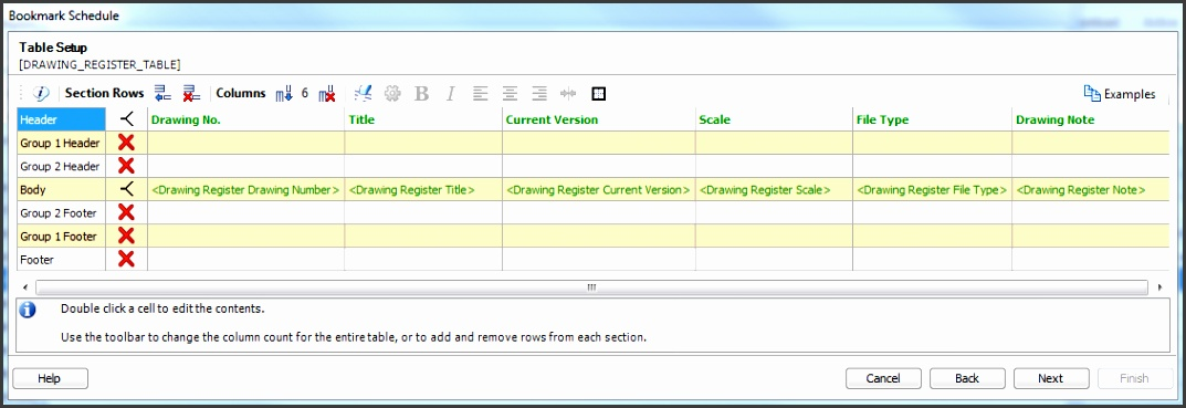 Add the bookmark Drawing Register Current Version to show the most recently created version for the drawing row