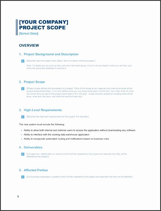 Project scope report Business Blue design