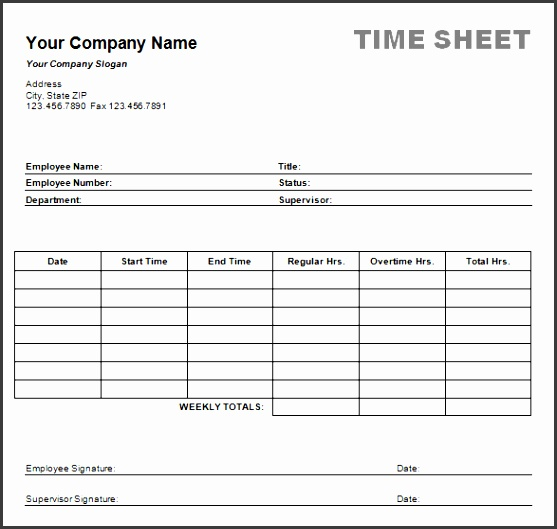 Weekly Project Task Timesheet Form
