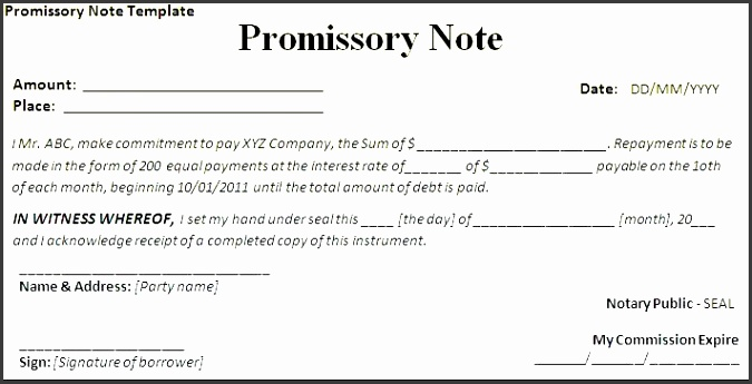 promisory note template sample promissory note template california