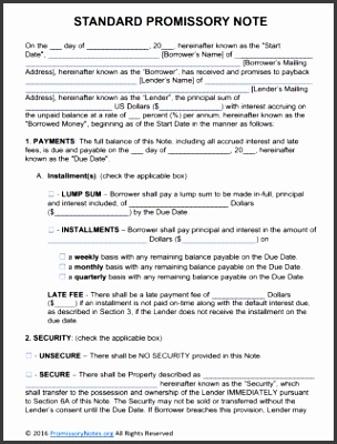 Standard Promissory Note Template Free Adobe Pdf Microsoft Word Templates Format For Personal Secured Uk Simple