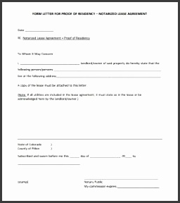 notarized document template blank notarized letter for proof of residency template pdf format