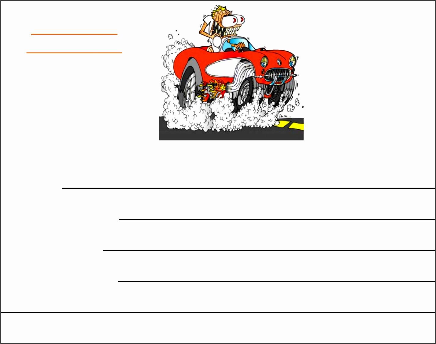 Car Show Registration Form Template Free Download