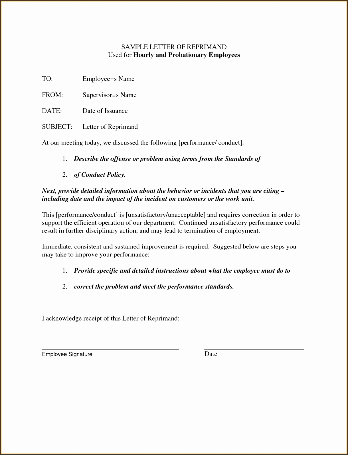 SAMPLE LETTER OF REPRIMAND Used for Hourly and Probationary by
