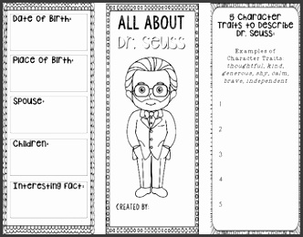 All About Dr Seuss Biography Research Project Template Interactive Notebook