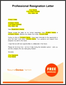professional two weeks notice resignation letter template